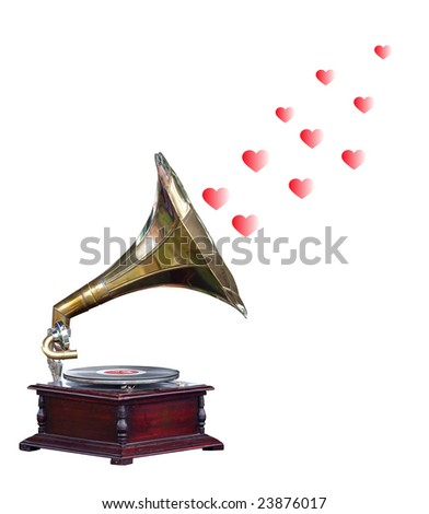 Antique Gramophone with Hearts  isolated with clipping path - stock photo