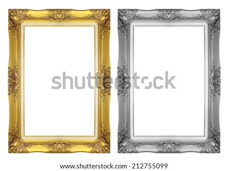 antique gray and gold frame isolated on white background - stock photo