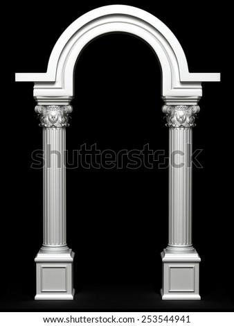 Antique Greek Arc Isolated on Black - stock photo