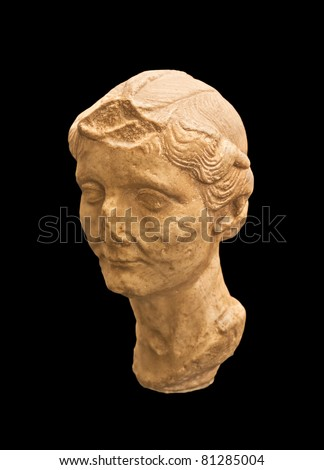 Antique Greek bust  in the Ampurias ruins, Spain - stock photo