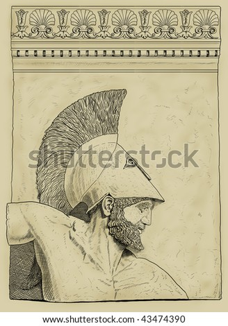 Antique greek soldier - stock photo