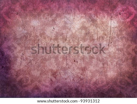Antique grungy damask background texture in pink and magenta - stock photo
