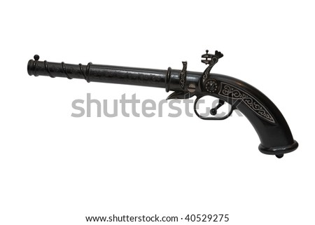 Antique gun isolated on white - stock photo