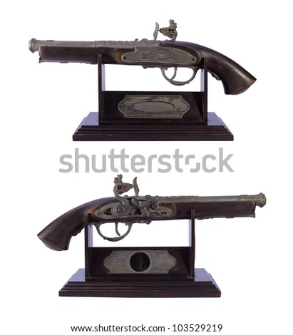 Antique gun, isolated on white background, clipping path included - stock photo
