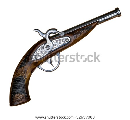 Antique gun isolated on white, clipping path included - stock photo