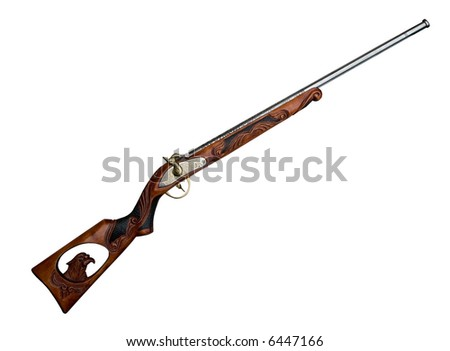 Antique gun isolated on white, clipping path included