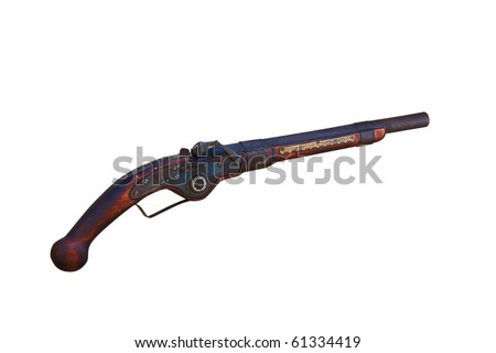 Antique gun. Isolated on white, with clipping path. - stock photo