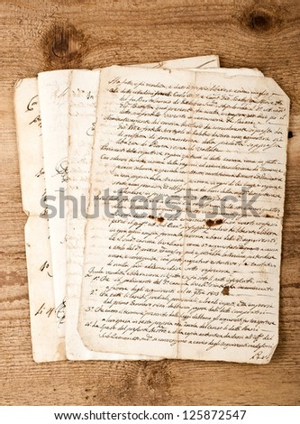 antique hand writings  on wood background