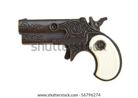 Antique handgun isolated on a white background - stock photo