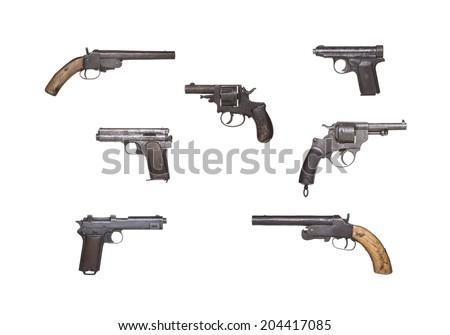Antique Handguns Collection - stock photo