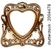 Antique heart shaped photo frame (bronze) - stock photo