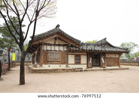 antique house in front of Kyongbokkung Place, Soul, South Korea - stock photo