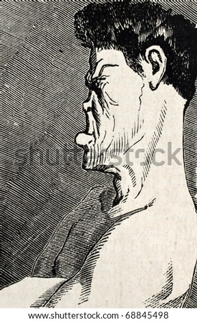 Antique humorous illustration of a boxer face profile. Original, from drawing of Benassis and Darjou, published on L'Illustration, Journal Universel, Paris, 1860 - stock photo