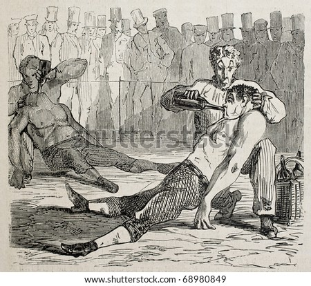 Antique humorous illustration of two boxers knocked out at the end of match. Original, from drawing of Benassis and Darjou, published on L'Illustration, Journal Universel, Paris, 1860 - stock photo
