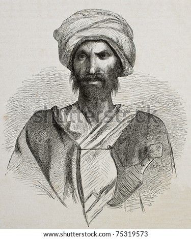 Antique illustration of a Bedouin from Sinai peninsula. Created by Pottin and Bida, published on Le Tour du Monde, Paris, 1864 - stock photo