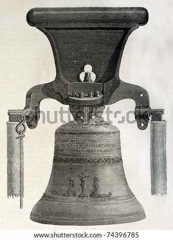 Antique illustration of a bell casted in Perre workshop, Avignon, France. Created by unknown author, published on L'Illustration, Journal Universel, Paris, 1868 - stock photo