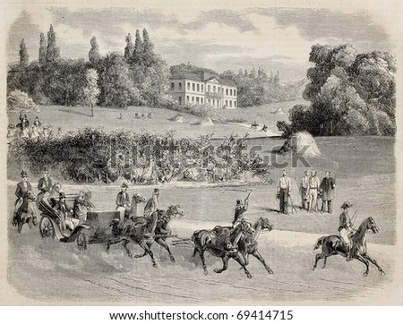 Antique illustration of a carriage in the park of Vilgenis with the castle in background. Original, from drawing of Blanchard, was published on L'Illustration, Journal Universel, Paris, 1860 - stock photo