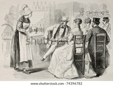 Antique illustration of a waitress attending to customers in a bar. Created by Pauquet and Dutheil, published on L'Illustration, Journal Universel, Paris, 1868 - stock photo