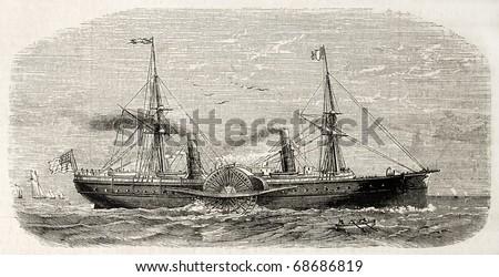 Antique illustration of american steamer sailing. Original, from drawing of Lebreton, after sketch of Barbin, was published on L'Illustration, Journal Universel, Paris, 1860 - stock photo