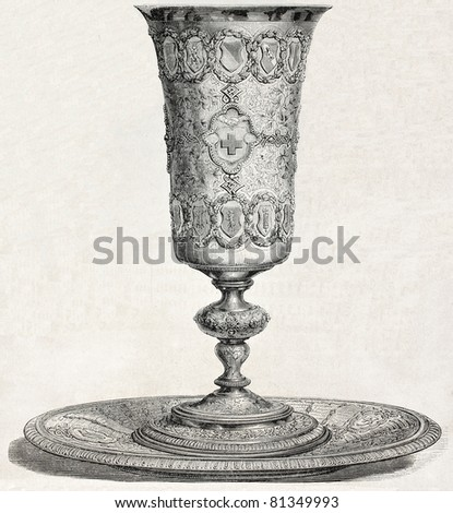 Antique illustration of an old cup. Created by Marc, published on L'Illustration, Journal Universel, Paris, 1857 - stock photo