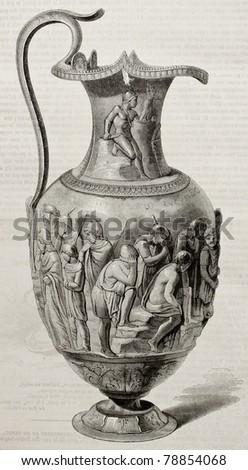Antique illustration of an old silver jug found in Villeret, near Berthouville, France. Created by Freeman and Quartley, published on Magasin Pittoresque, Paris, 1850