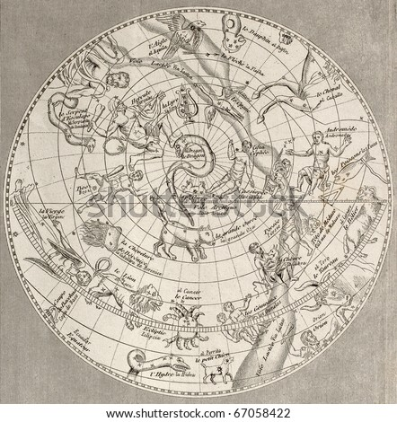 Antique illustration of  Celestial Planisphere (northern hemisphere) with constellations. Original engraving, Taillart sculp., is datable to the half of 19th c. - stock photo