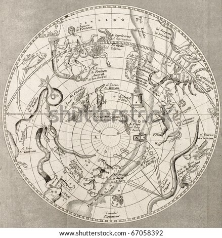 Antique illustration of  Celestial Planisphere (southern hemisphere) with constellations. Original engraving, Taillart sculp., is datable to the half of 19th c. - stock photo