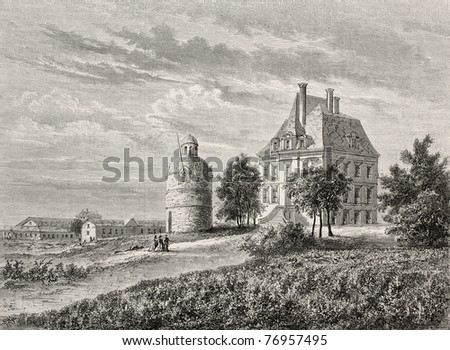 Antique illustration of Chateau La Tour Bordeaux, France. Created by Lallemand and Cosson-Smeeton, after drawing of De Lorbac, published on L'Illustration, Journal Universel, Paris, 1868 - stock photo