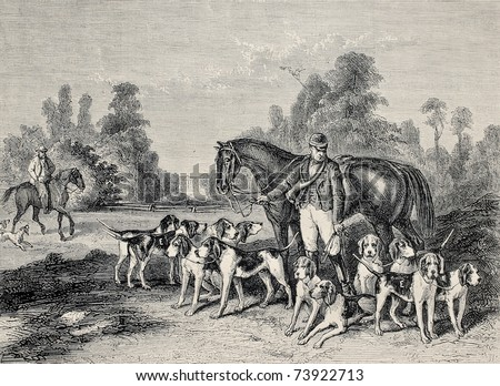 Antique illustration of hunting dog pack .From drawing of Duvaux, engraved by Cosson.Smeeton, published on L'Illustration, Journal Universel, Paris, 1868 - stock photo