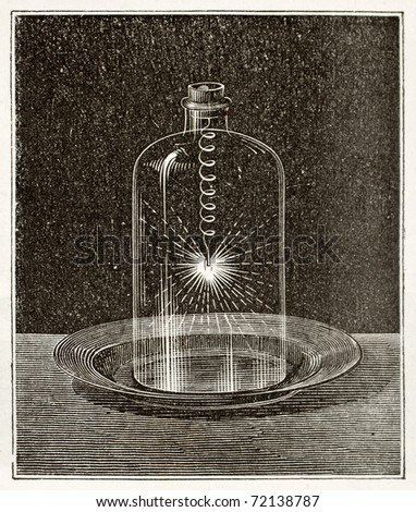 Antique illustration of iron combustion in pure oxygen. Original, from unknown author, was published on L'Eau, by G. Tissandier, Hachette, Paris, 1873. - stock photo