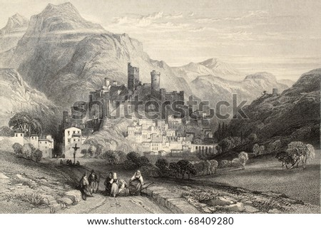 Antique illustration of  Itri, Italy, with the old castle. Original, created by Major Irton and T. A. Prior, was published in Florence, Italy, 1842, Luigi Bardi ed.