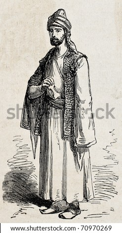 Antique illustration of Kurdish man in traditional clothing. Original, from drawing of Duhousset, was published on L'Illustration Journal Universel, Paris, 1860
