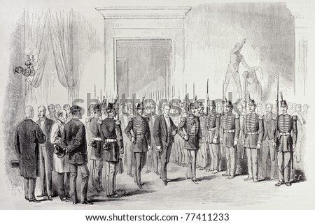 Antique illustration of Legislative Assembly President's entering in Palais Bourbon, Paris. Original, from drawing of Cosson-Smeeton, was published on L'Illustration, Journal Universel, Paris, 1868