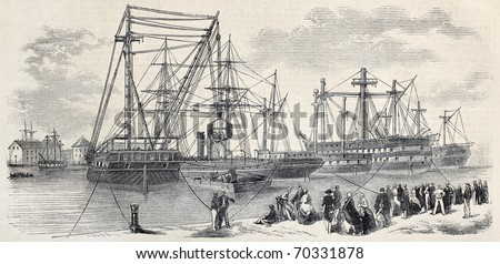 Antique illustration of loading ships departing from Toulon to China. Original, from drawing of Lebreton, after sketch of Cecco, was published on L'Illustration, Journal Universel, Paris, 1860 - stock photo
