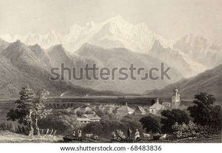 Antique illustration of Monte Bianco (White Mountain), Alps, Italy. Original, created by W. H. Bartlett and E. Benjamin, was published in Florence, Italy, 1842, Luigi Bardi ed. - stock photo