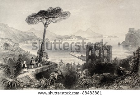Antique illustration of  Naples bay, whit Vesuvius volcano on background, Italy. Original, created by W. H. Bartlett and and T. A. Prior, was published in Florence, Italy, 1842, Luigi Bardi ed. - stock photo