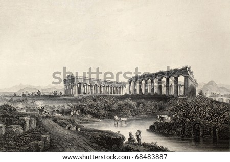 Antique illustration of Paestum temples in southern Italy.  Original, created by Wolfensberger and J. Sands, was published in Florence, Italy, 1842, Luigi Bardi ed. - stock photo