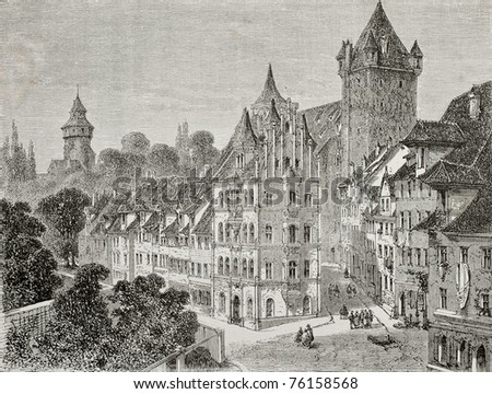Antique illustration of Panierplatz in Nuremberg, Germany. Created by Therond, published on Le Tour du Monde, Paris, 1864 - stock photo