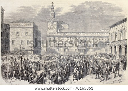 Antique illustration of Piedmontese troops entering il Bologna, Italy. Original, after drawings of Thomas and Worms, published on L'Illustration, Journal Universel, Paris, 1860 - stock photo