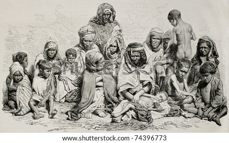 Antique illustration of poor and needy people in Algeria. Created by Janet-Lange and Cosson-Smeeton after photo of Sarrault, published on L'Illustration, Journal Universel, Paris, 1868 - stock photo