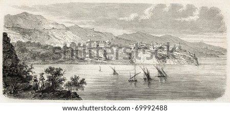 Antique illustration of Principality of Monaco coast. Original, from drawing of Gaildrau, after sketch of Ludovic D'Hastrel, published on L'Illustration, Journal Universel, Paris, 1860 - stock photo