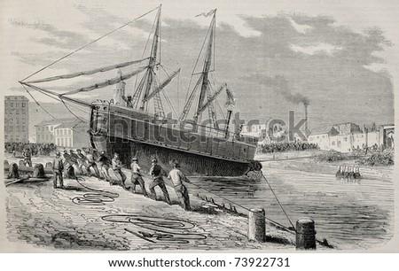 Antique illustration of rescue vessel launching in La Villette channel, Paris. Created by Gaildrau and Cosson-Smeeton, published on L'Illustration, Journal Universel, Paris, 1868 - stock photo