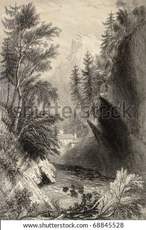 Antique illustration of Saint Gervais les Bains, in the Rhone Alps. Original, created by W. H. Bartlett and W. B. Cooke, was published in Florence, Italy, 1842, Luigi Bardi ed. - stock photo
