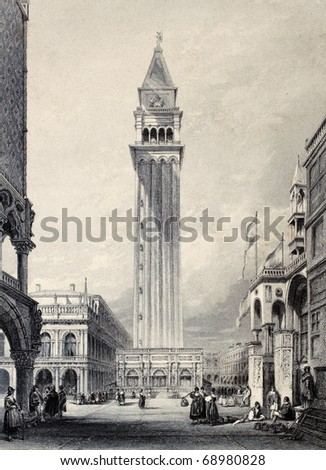 Antique illustration of  St. Mark's bell tower in Venice, Italy. Original, created by W. L. Leitch and E. Benjamin, was published in Florence, Italy, 1842, Luigi Bardi ed. - stock photo