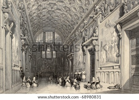 Antique illustration of the Sala Regia, in Vatican Town. Original, created by W. L. Leitch and E. Challis, was published in Florence, Italy, 1842, Luigi Bardi ed. - stock photo