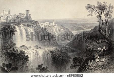 Antique illustration of  Tivoli waterfalls, near Rome, Italy. Original, created by W. H. Bartlett and E. Brandard, was published in Florence, Italy, 1842, Luigi Bardi ed. - stock photo