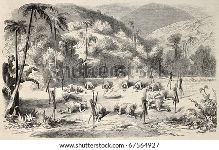 Antique illustration of tribal rite before combat in primitive central American people. Original, from a drawing of M. L. De Pontelli, was  published on L'Illustration, Journal Universel, Paris, 1860 - stock photo