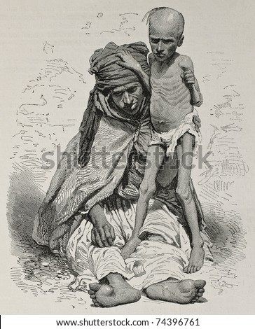 Antique illustration of undernourished mother and son in Algeria. Created by Janet-Lange and Dutheil after photo of Sarrault, published on L'Illustration, Journal Universel, Paris, 1868 - stock photo
