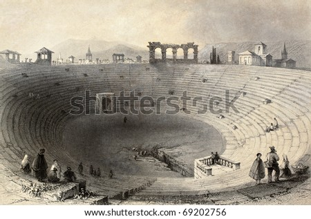 Antique illustration of Verona arena, Italy. Original, created by W. H. Bartlett and J. Sands, was published in Florence, Italy, 1842, Luigi Bardi ed. - stock photo