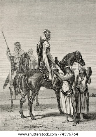 Antique illustration shows arab women offering milk to horsemen. By Duvaux and Cosson-Smeeton on tablet of Ginain, published on L'Illustration, Journal Universel, Paris, 1868 - stock photo